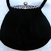 Art Deco Era Marcasite Jewelled Black Velvet Evening Bag
