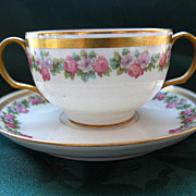 WG & Co. Limoges Cream Soup Cup & Saucer