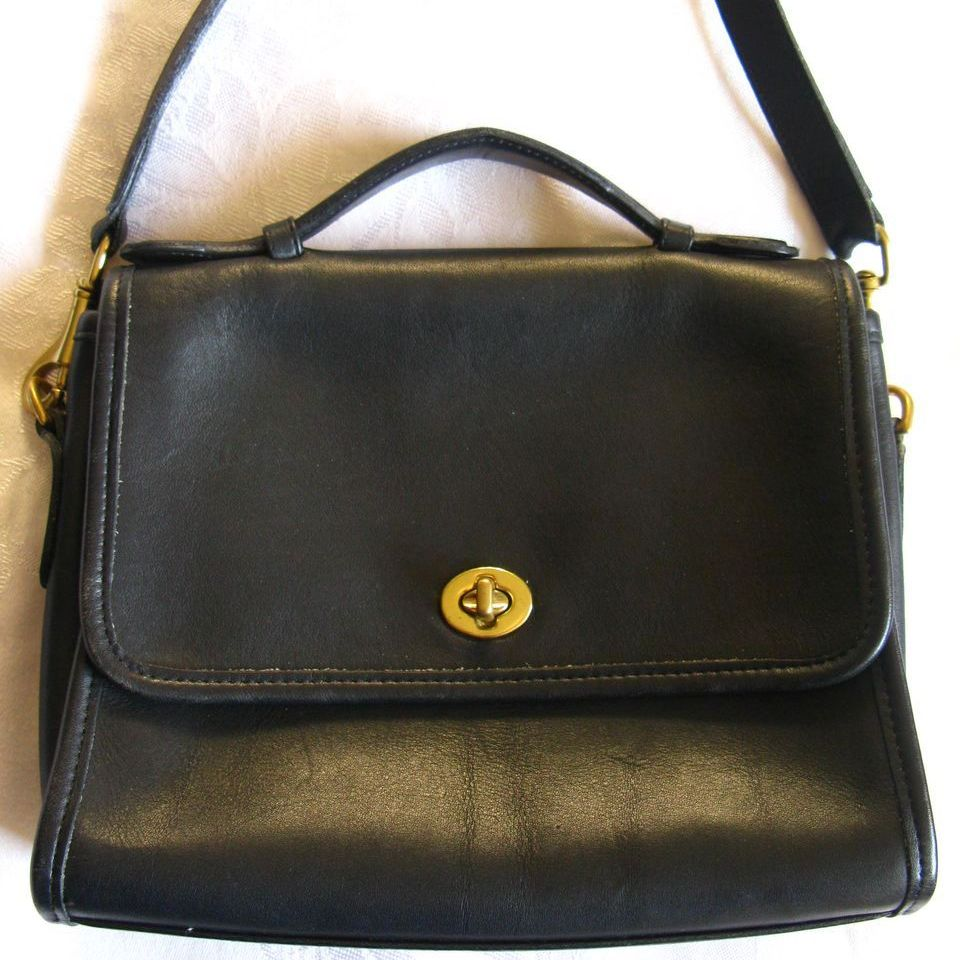 Vintage COACH U.S.A. Black Leather Court Bag from seasonspast on ...