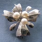 Vintage Sterling & Cultured Pearl Floral Spray Brooch
