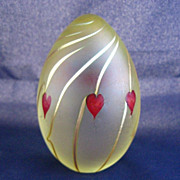 CORREIA Art Glass Signed Hearts Paperweight