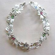 EMMONS Silvertone Enamel & Rhinestone Floral Bracelet