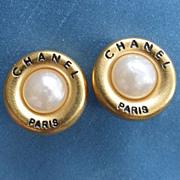 CHANEL Season 93A Faux Pearl Clip-On Earrings