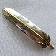 Sterling & Gold Filled Large Feather Hair Barrette