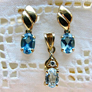 14K Blue Topaz Earrings & Pendant Demi Set