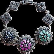 Sterling 6 Carat Multi-Gem & Marcasite Link Bracelet