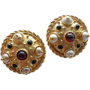 Guy Laroche Gold Plated Jewelled Clip Earrings