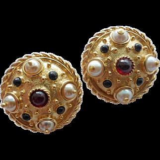 Guy Laroche Gold Plated Jewelled Clip Earrings