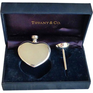 TIFFANY & Co. Sterling Heart Perfume Bottle & Funnel