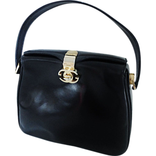 GUCCI Vintage Black All Leather Hand Bag