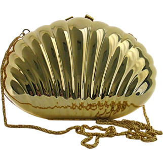 Vintage Goldtone Shell Form Minaudiere