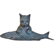 Bronze Cat With A Fish Pen Tray