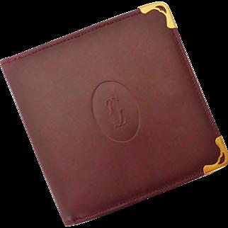 CARTIER Mens Burgundy Leather Wallet