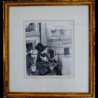 """Honore Daumier Original 1800's Lithograph """"Le Bourgeois au Salon"""""""