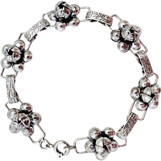 Fancy Sterling Rosette Link Bracelet