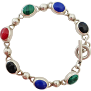 Sterling Multi-Gem Cabochon Toggle Bracelet