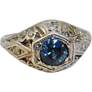 Art Deco 14K White Gold Sapphire Diamond Ring Size 5-1/2