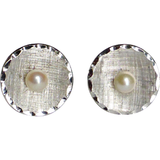 Cultured Pearl Textured Sterling Cuff Links
