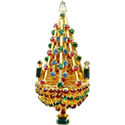 JOSEPH WARNER Rhinestone Christmas Tree Brooch