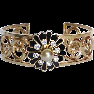 Coro Pegasus Enamel, Rhinestone & Faux Pearl Cuff Bracelet