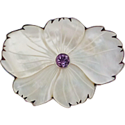 Huge Sterling Carved Mother of Pearl Amethyst Brooch/Pendant