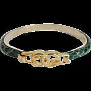 Vintage GUCCI Monogram Green Snakeskin Bracelet