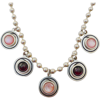 STEVE STAMAS Sterling Rose Quartz & Garnet Cabochon Necklace