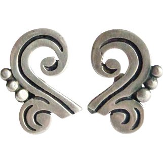 Signed MARICELA Taxco Mexico Screw-Back Earrings