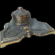 Arts & Crafts Era Heavy Brass Hinged Lid Inkwell