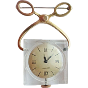 Whimsical Ice Tongs Lucite Skeleton Back Lapel Watch