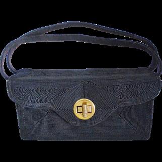Vintage 1940's Black Corde/Gimp Baguette Handbag