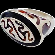 FLLI. MENEGATTI Heavy Sterling Black & Tortoise Enamel Ring Size 10