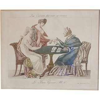 Le Bon Genre Hand Colored Engraving 'The Fortune Teller'