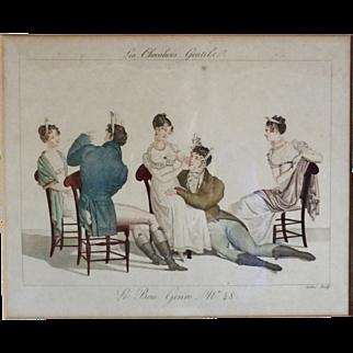 Le Bon Genre Hand Colored Engraving 'Les Chevaliers Gentils'