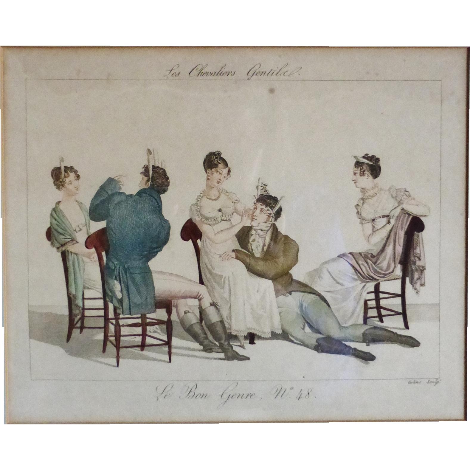 Le Bon Genre Hand Colored Engraving Les Chevaliers