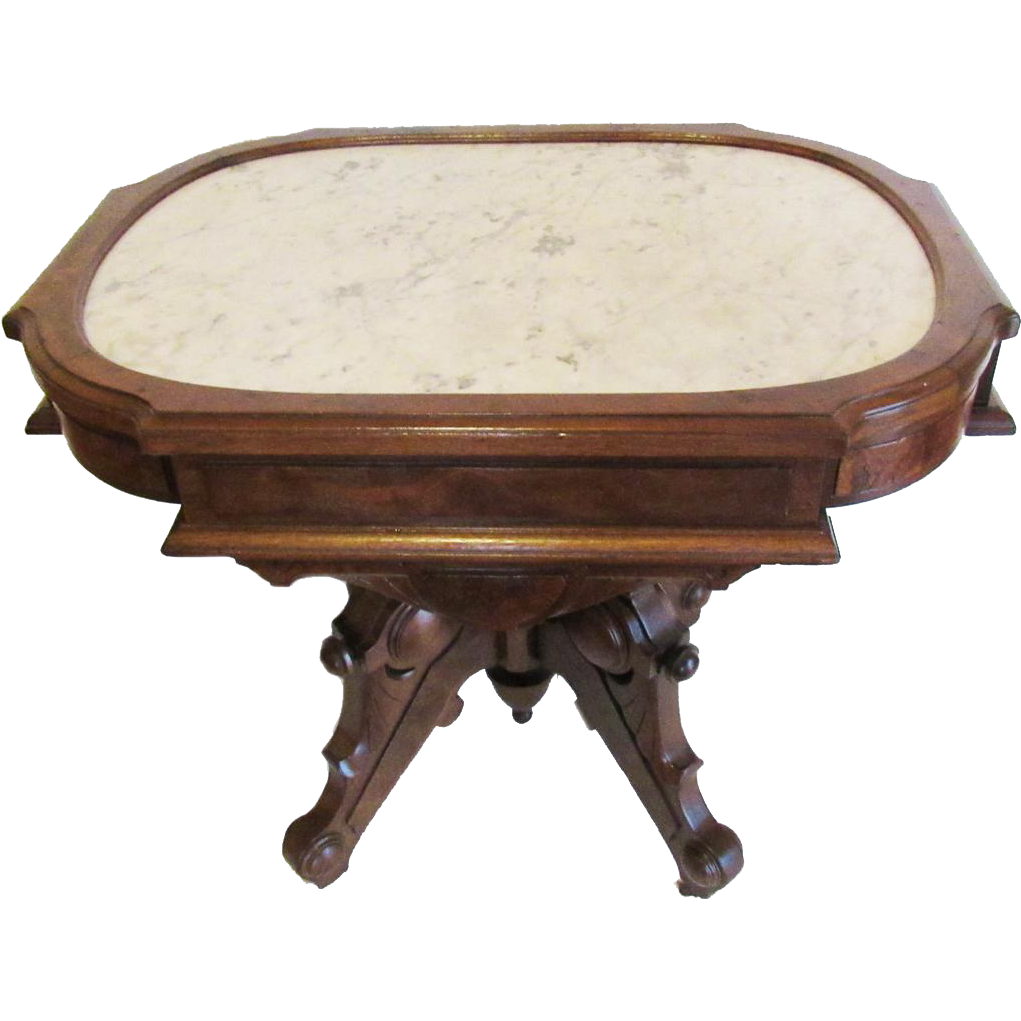 Berkey-Gay Victorian Renaissance Revival Picture Marble Top Table
