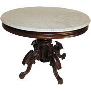 Fine Brooks Style Mid Victorian Oval Marble Top Table