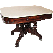 Huge Renaissance Revival Victorian Marble Top Parlor Table