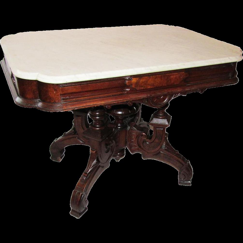 Huge Renaissance Revival Victorian Marble Top Parlor Table