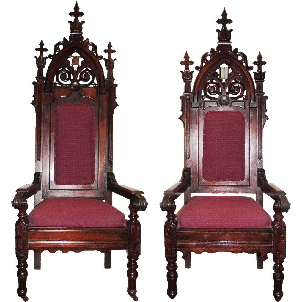 "Huge Victorian Gothic ""King & Queen"" Chairs"