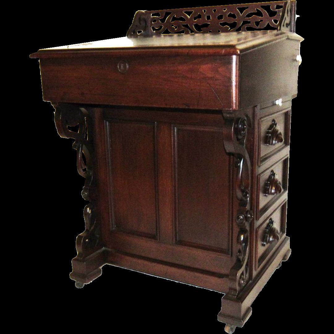 Rare Victorian Era Captain's Davenport Desk