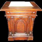 Gothic Walnut & Marble Pedestal/Lecturn