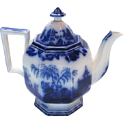 Scinde Alcock Flow Blue Ironstone China Pumpkin Teapot