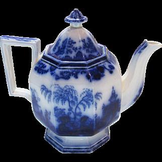 Scinde Alcock Flow Blue Ironstone China Pumpkin Teapot