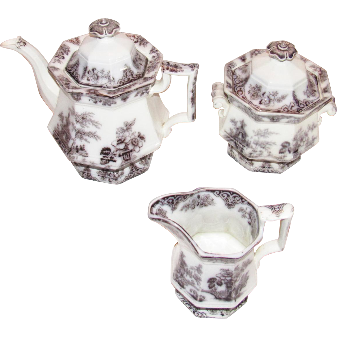 Bochara by Edwards Mulberry Ironstone China Teaset