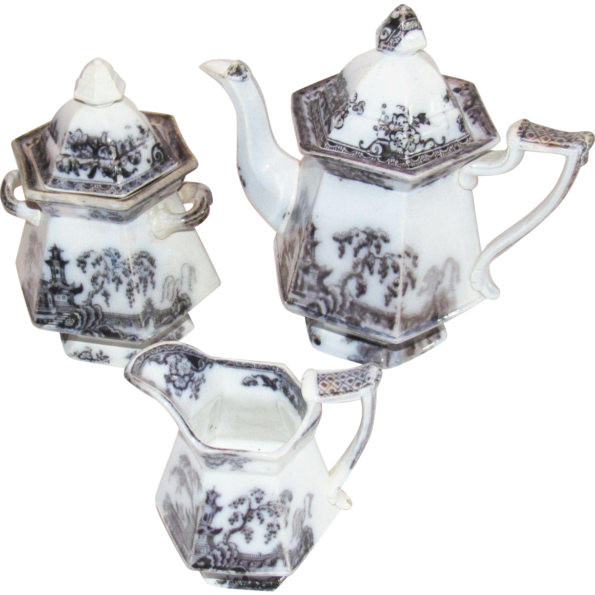 Pelew By Challinor Mulberry Ironstone Teaset
