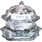 Bochara by Edwards Mulberry Ironstone Soup Tureen & Tray