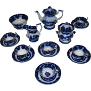 Flow Blue Ironstone China Tonquin-Adams 1840's Youth Serving Teaset