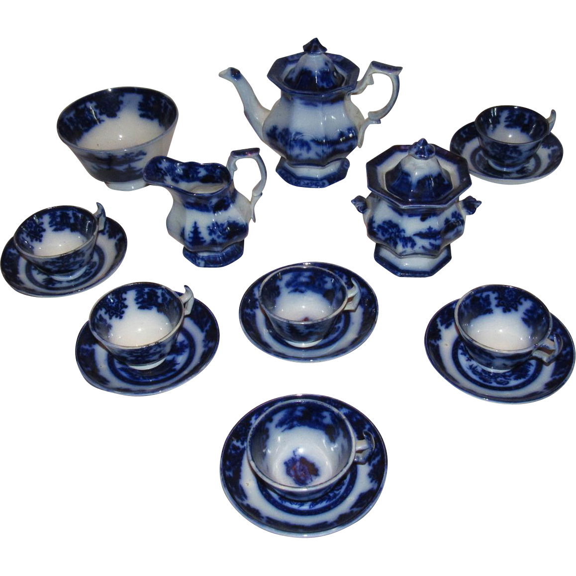 Flow Blue Tonquin by Adams 1840's Youth Serving Teaset