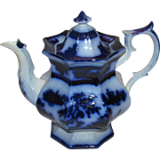 Jumbo Size Chapoo-Wedgwood Flow Blue Ironstone China Teapot.